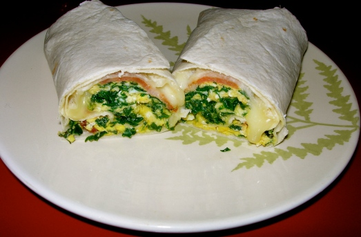 Bacon Kale Breakfast Burrito